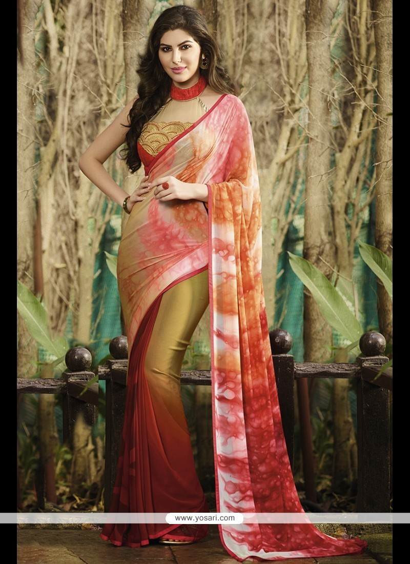 Impressive Multi Colour Print Work Georgette Printed Saree