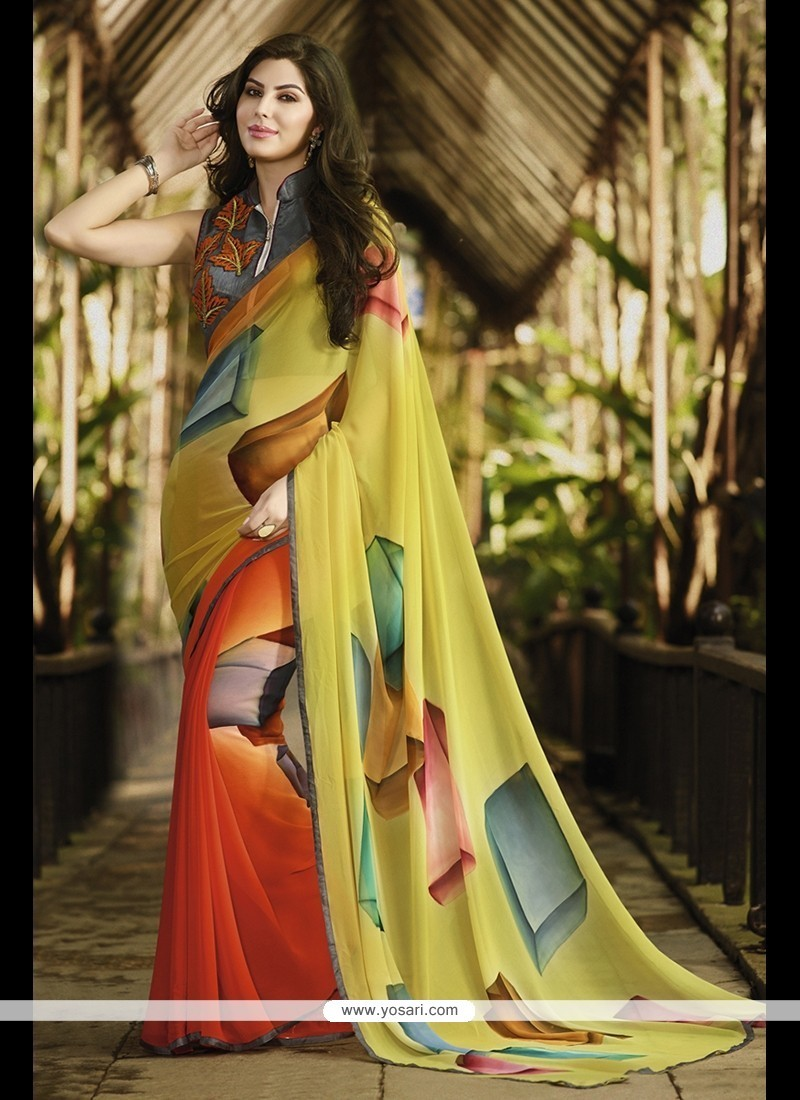 Pleasance Multi Colour Print Work Georgette Printed Saree