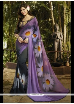Intricate Print Work Georgette Printed Saree