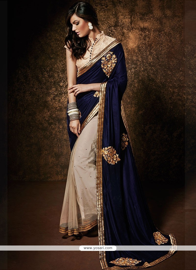 Blue And Cream Net Designer Saree