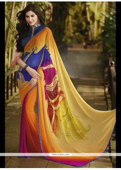 Gilded Georgette Multi Colour Printed Saree
