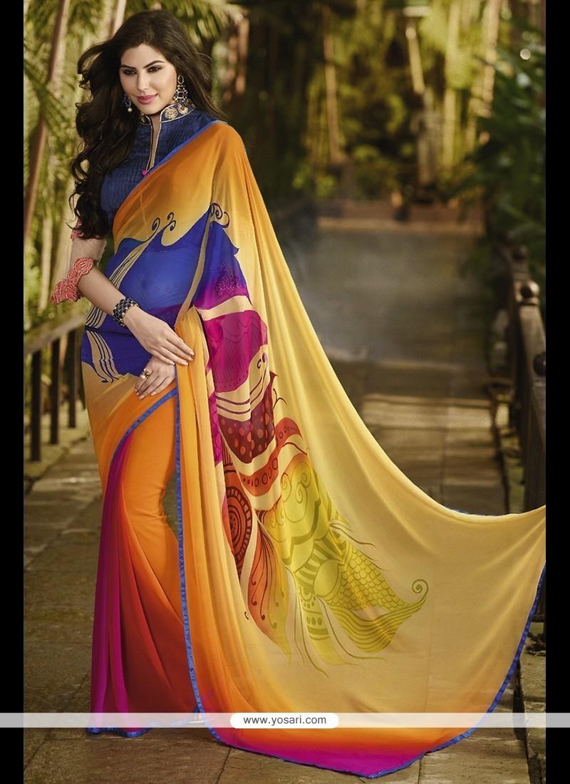 Gilded Georgette Multi Colour Printed Saree