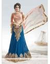 Fashionable Georgette Blue Embroidered Work A Line Lehenga Choli
