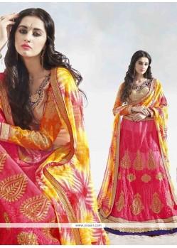 Enthralling Satin Rose Pink A Line Lehenga Choli