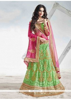 Fashionable Green A Line Lehenga Choli