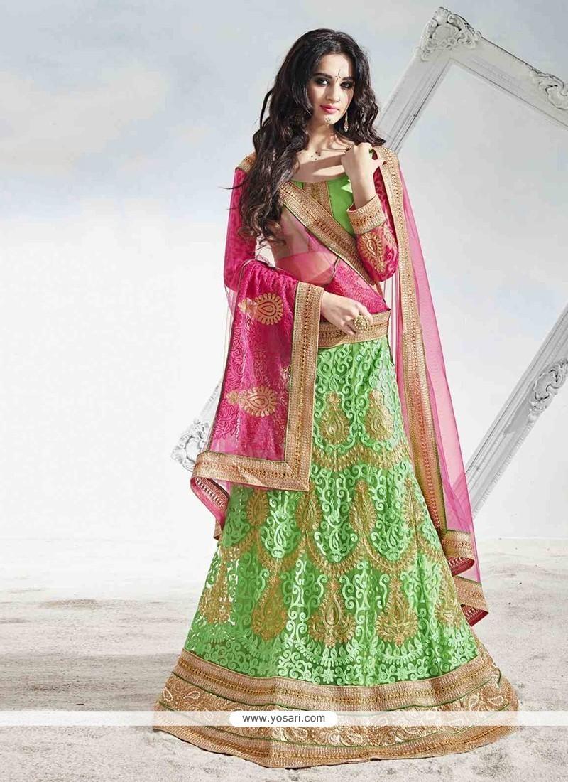 Fashionable Green A Line Lehenga Choli