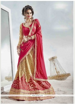 Innovative Beige And Red A Line Lehenga Choli