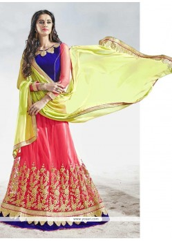 Especial Embroidered Work Hot Pink Net A Line Lehenga Choli