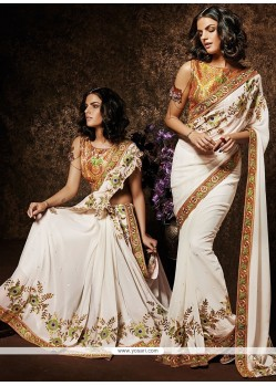 Off White Georgette Party Wear Saree