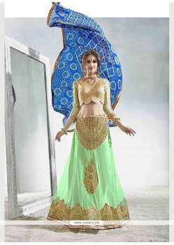 Lively Sea Green Patch Border Work A Line Lehenga Choli