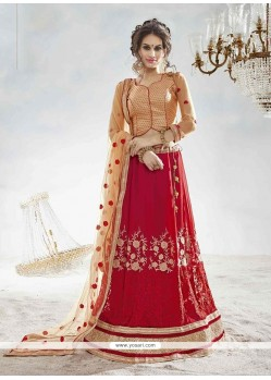 Princely Georgette Red Embroidered Work A Line Lehenga Choli