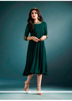 Festal Embroidered Work Green Georgette Designer Kurti