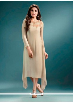 Surpassing Embroidered Work Georgette Cream Designer Kurti