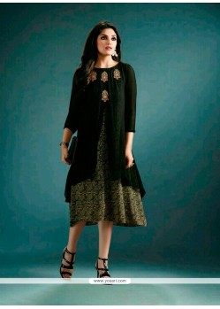 Flattering Georgette Black Embroidered Work Designer Kurti
