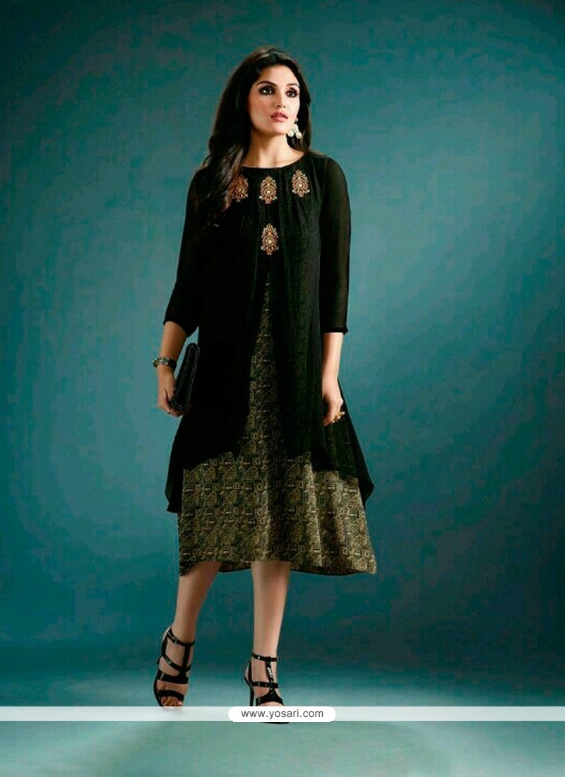 Buy Flattering Georgette Black Embroidered Work Designer Kurti ...