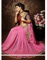 Hot Pink Net Designer Saree