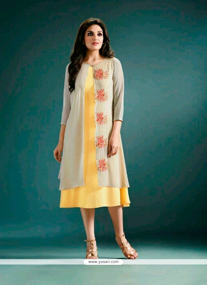 Buy Pristine Yellow Designer Kurti | Party Wear Kurtis