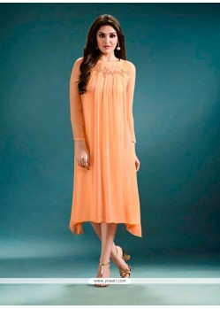 Embroidered Georgette Designer Kurti In Peach