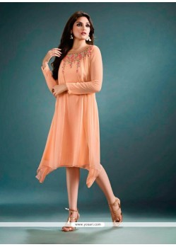 Glamorous Peach Embroidered Work Georgette Designer Kurti