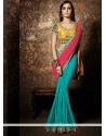 Teal Green And Pink Georgette Saree