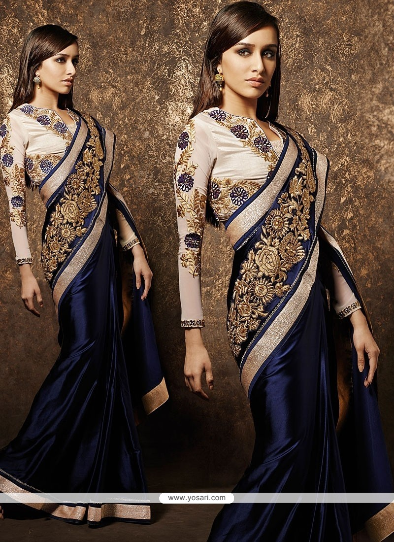 Magical Blue Pure Satin Designer Saree