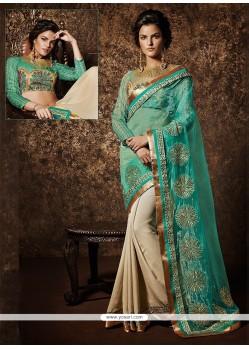 Cream And Turquoise Net Designer Saree