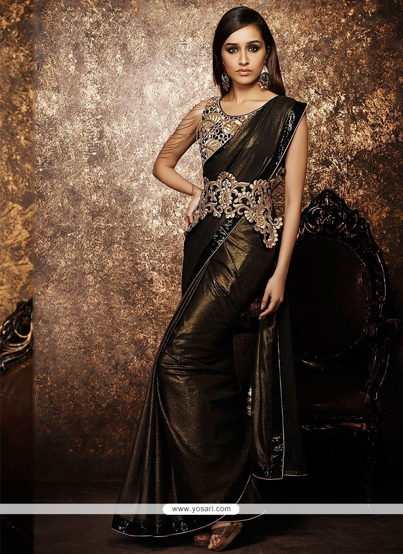 Black And Brown Shimmer Georgette Saree