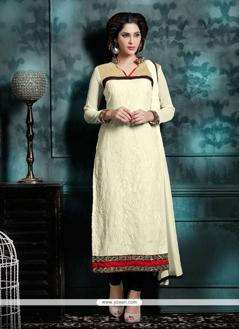 Patch Border Georgette Churidar Designer Suit In Off White