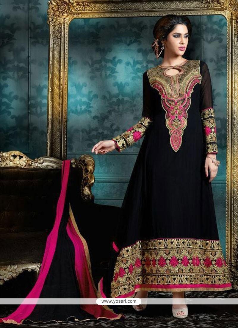 Gratifying Black Anarkali Salwar Kameez