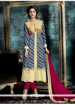 Competent Georgette Multi Colour Patch Border Work Designer Salwar Suit