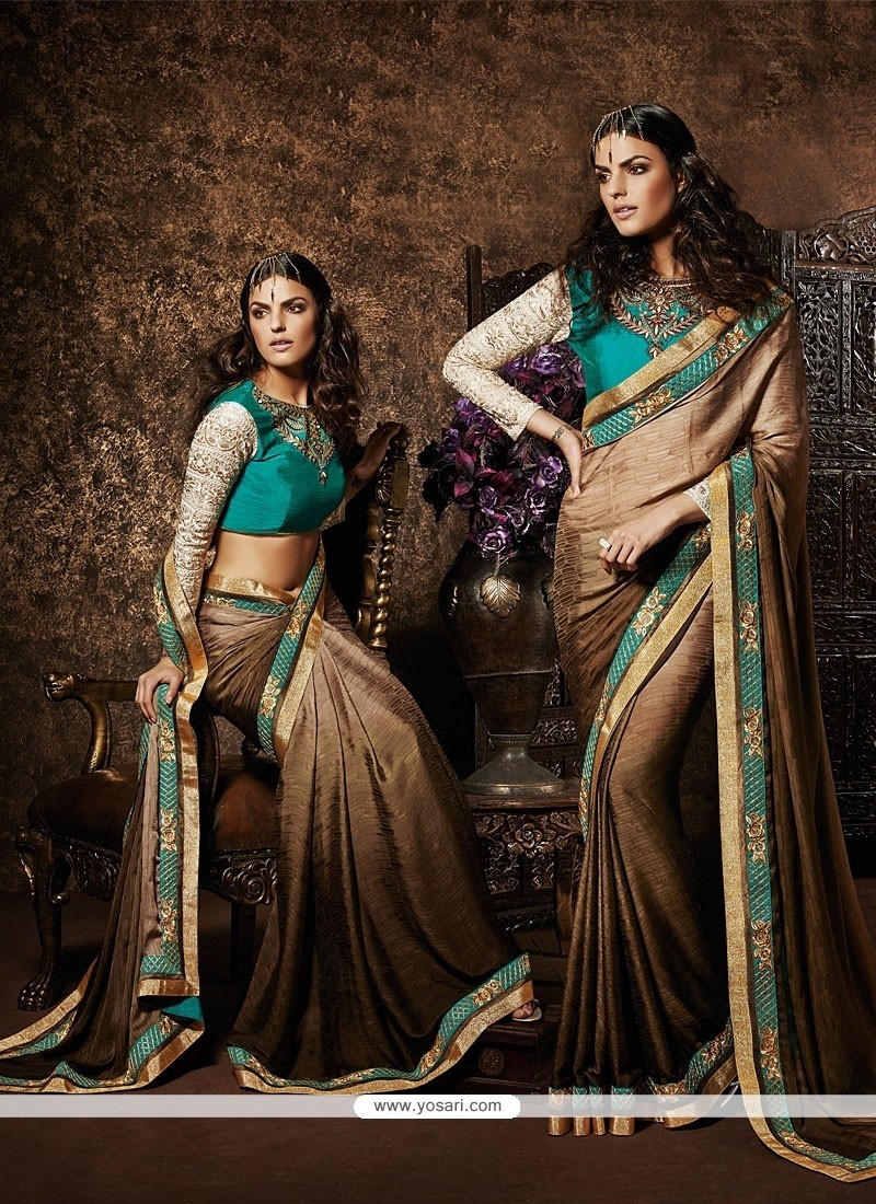 Cream And Brown Shaded Jacquard Saree