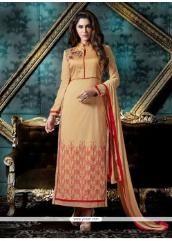 Exuberant Patch Border Work Cream Churidar Designer Suit