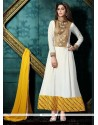 Fascinating Patch Border Work Georgette White And Yellow Anarkali Salwar Kameez
