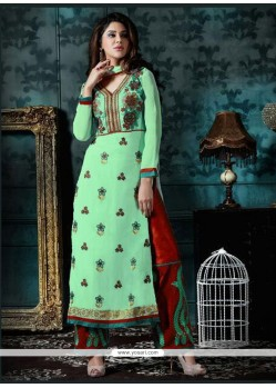 Honourable Sea Green Georgette Churidar Designer Suit