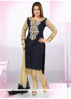 Noble Chanderi Navy Blue Readymade Suit