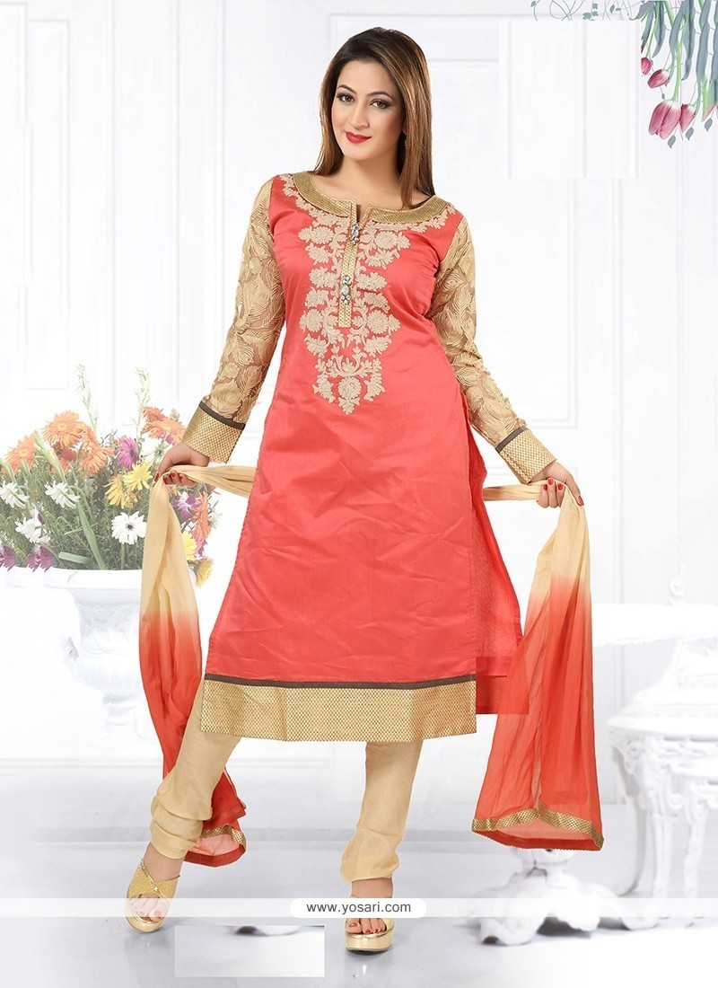 Exquisite Chanderi Rose Pink Readymade Suit