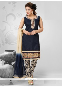 Dilettante Navy Blue Embroidered Work Chanderi Readymade Suit