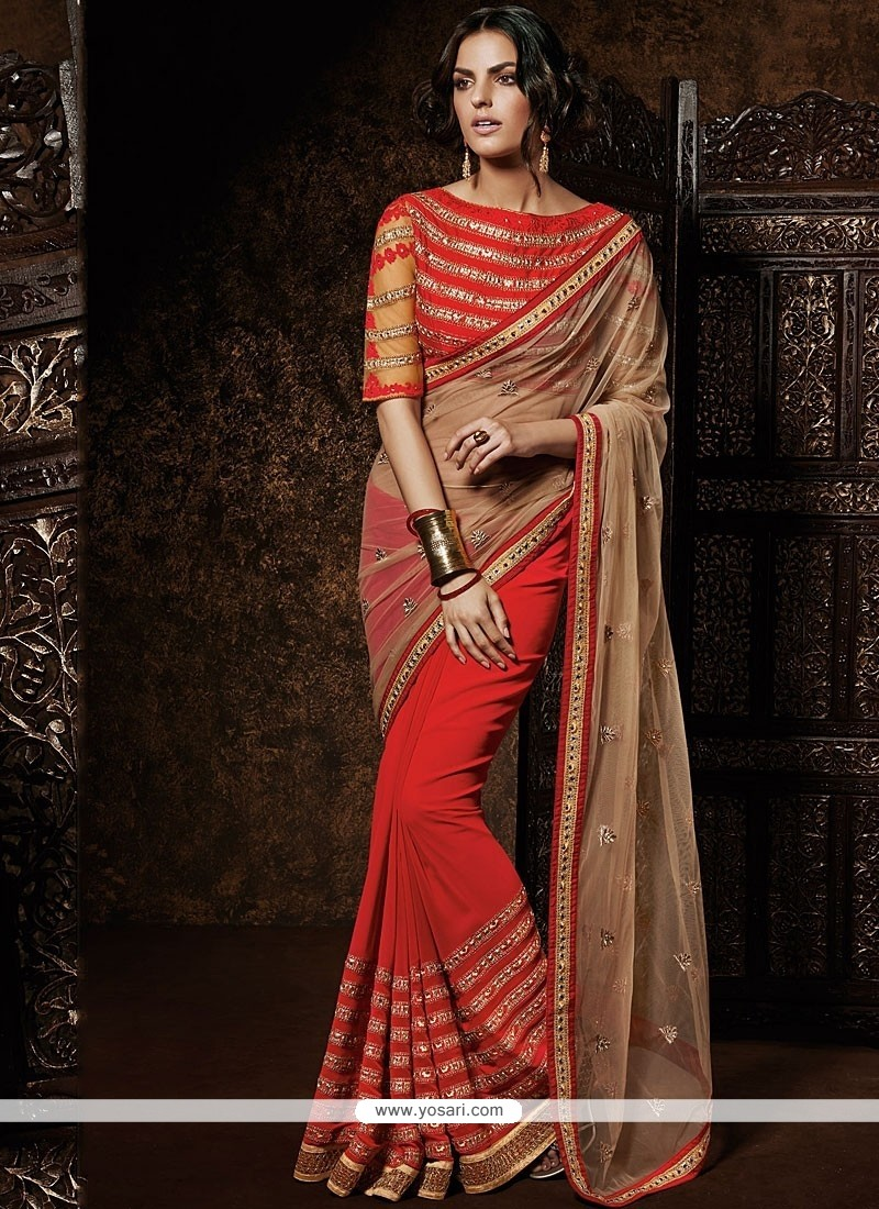 Cream And Red Net Designer Saree