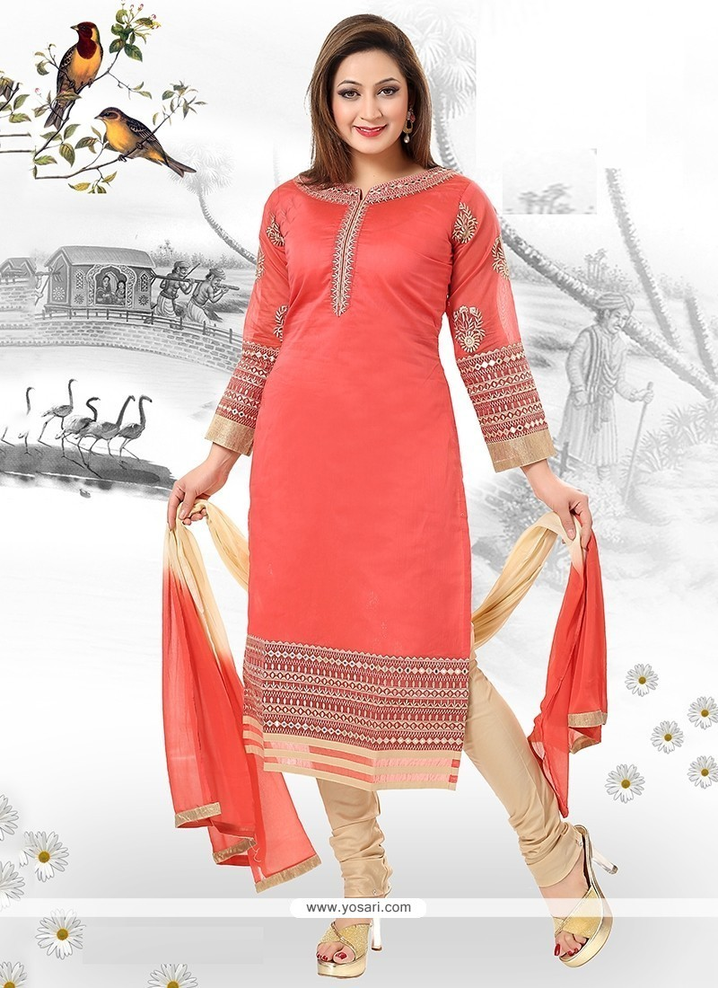 Fine Embroidered Work Chanderi Readymade Suit