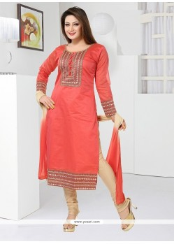 Dashing Peach Embroidered Work Readymade Suit