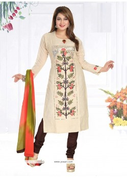 Simplistic Cream Chanderi Readymade Suit