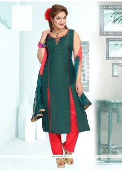 Excellent Green Embroidered Work Chanderi Readymade Suit