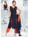 Embroidered Chanderi Readymade Suit In Navy Blue