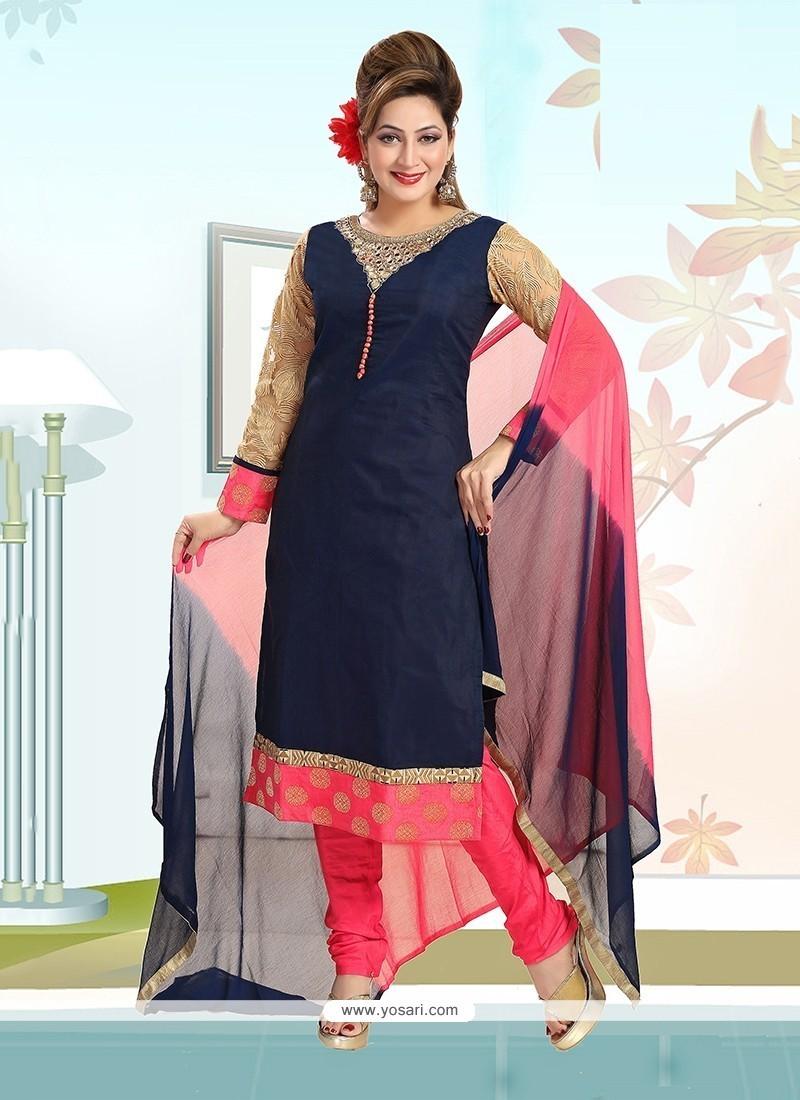 Lavish Navy Blue Embroidered Work Chanderi Readymade Suit