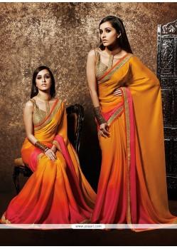 Amazing MultiColor Chiffon Satin Saree