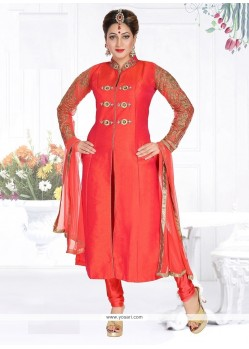 Heavenly Art Dupion Silk Embroidered Work Readymade Suit