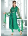 Distinctively Embroidered Work Sea Green Art Dupion Silk Readymade Suit