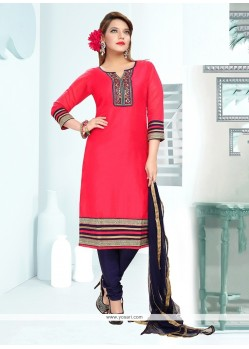 Engrossing Embroidered Work Chanderi Readymade Suit