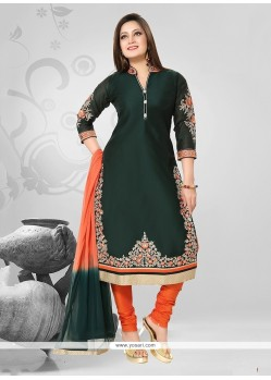 Paramount Green Chanderi Readymade Suit