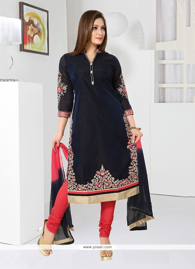 Refreshing Chanderi Embroidered Work Readymade Suit